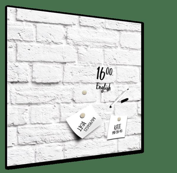 Memoboard White Bricks – 30x30cm Ansicht schräg