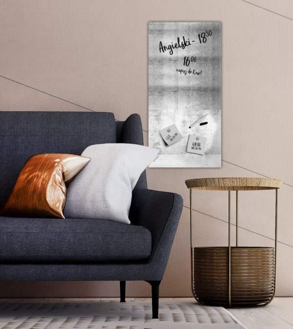 Memoboard Panel im Wohnzimmer