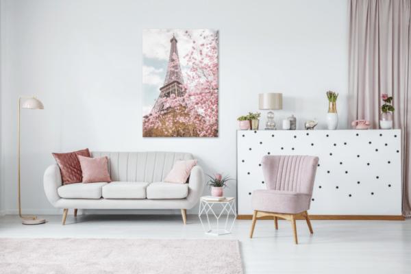 Leinwandbild Eiffelturm romantisch im Wohnzimmer