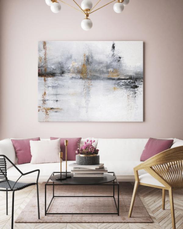 Leinwandbild White Abstract im Wohnzimmer