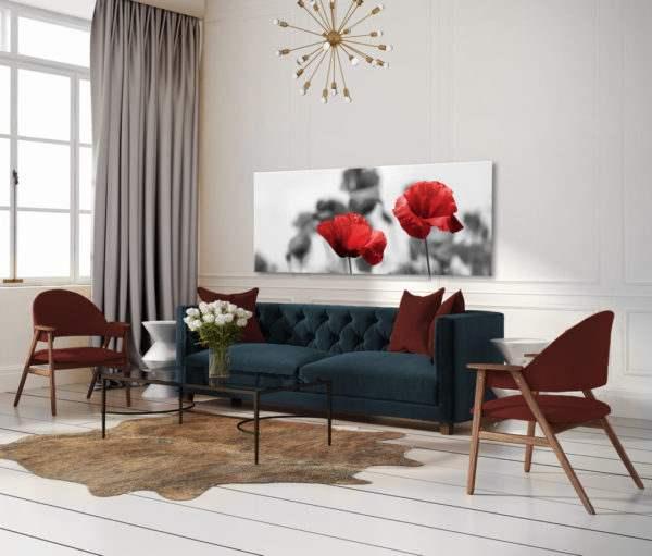 Glasbild Red Poppy im Wohnzimmer