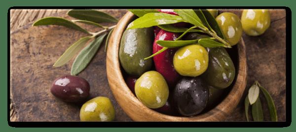 Glasbild Oliven Variation