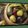 Glasbild Oliven Variation Ansicht schräg