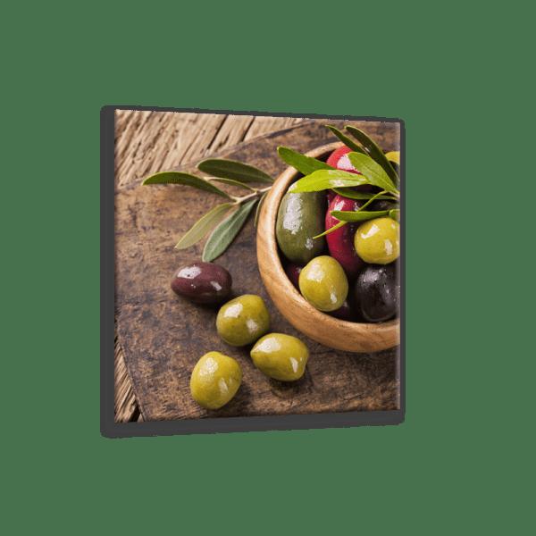 Glasbild Auswahl Oliven Ansicht schräg
