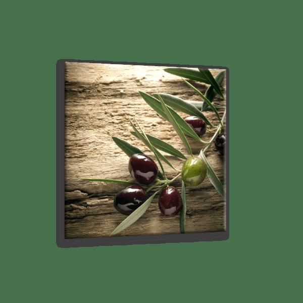 Glasbild Olivenzweig Ansicht schräg