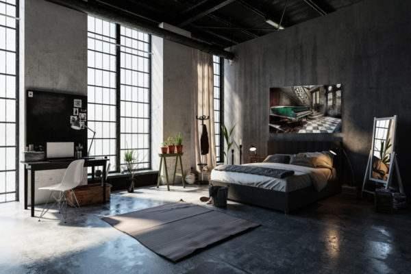 Glasbild Piano im Schlafzimmer