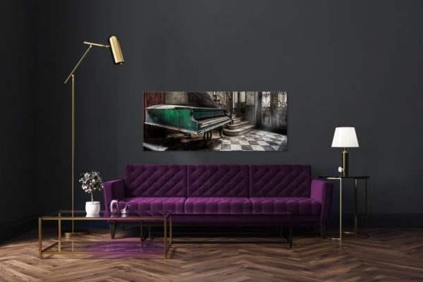 Glasbild Piano im Wohnzimmer