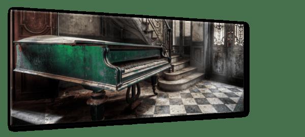 Glasbild Piano Ansicht schräg