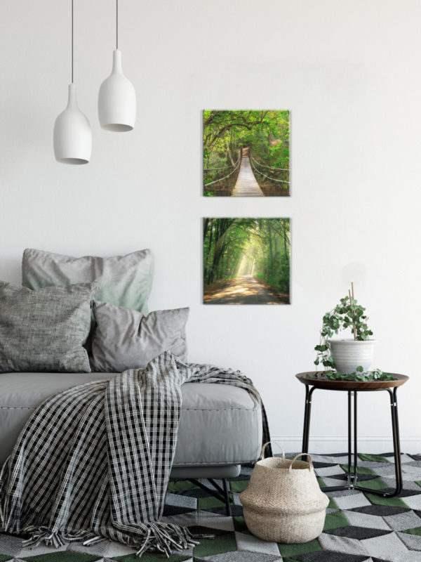 Glasbild Pfad im Wald im Wohnzimmer