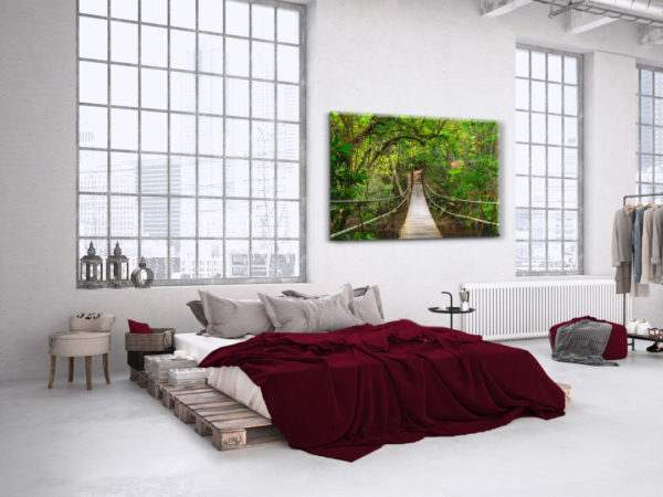 Glasbild Hängebrücke im Schlafzimmer