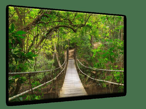 Glasbild Hängebrücke Ansicht schräg