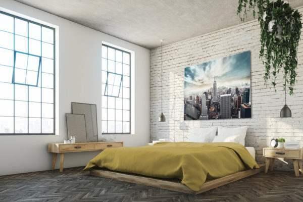 Glasbild Loft im Schlafzimmer