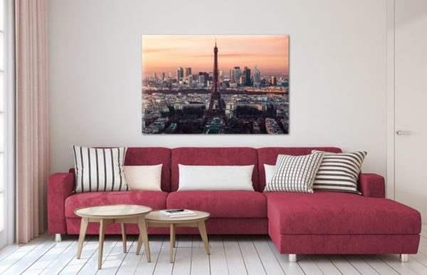 Glasbild Eiffelturm im Wohnzimmer