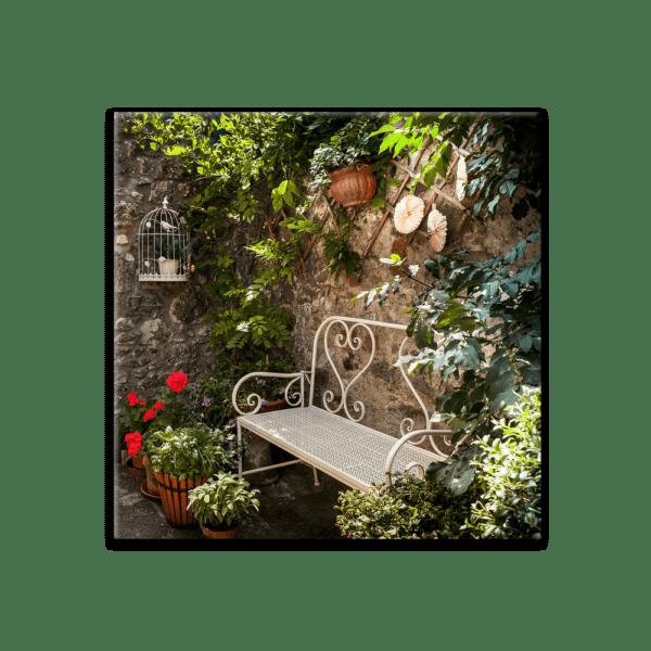 Glasbild Romantisches Plätzchen