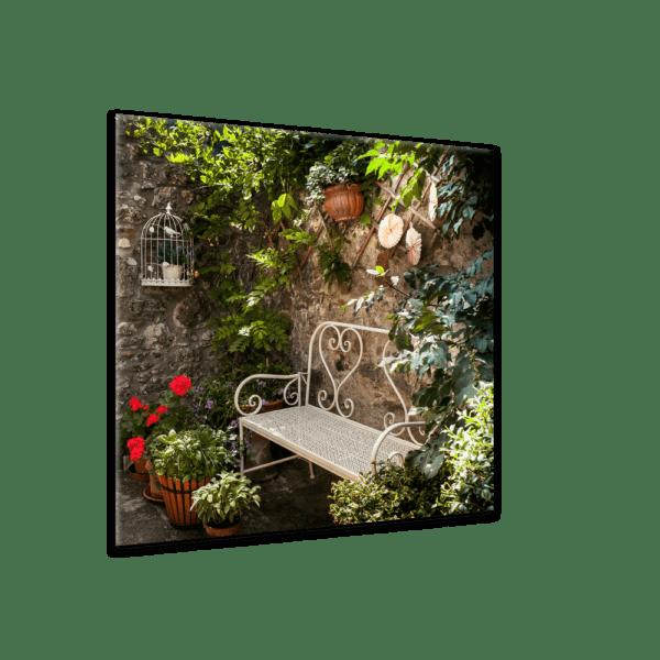 Glasbild Romantisches Plätzchen Ansicht schräg