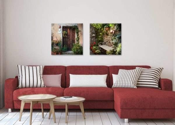 Glasbild Mediterraner Vorgarten im Wohnzimmer