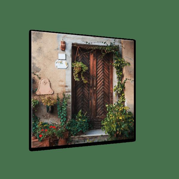 Glasbild Mediterraner Vorgarten Ansicht schräg