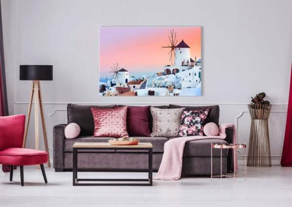 Glasbild Santorini im Wohnzimmer