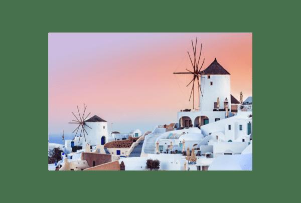Glasbild Santorini
