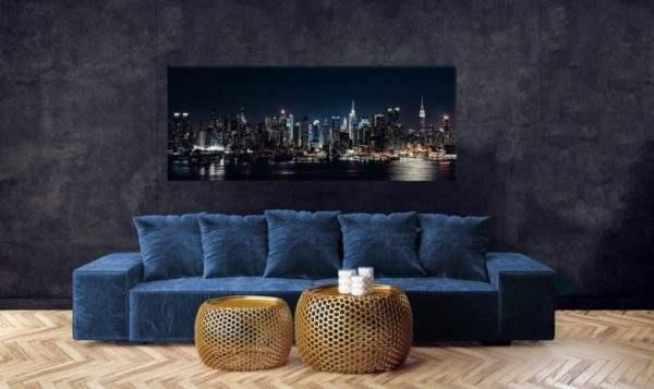 Glasbild Night – Panorama im Wohnzimmer