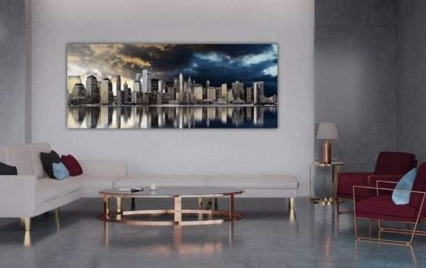 Leinwandbild Golden City – Panorama im Wohnzimmer
