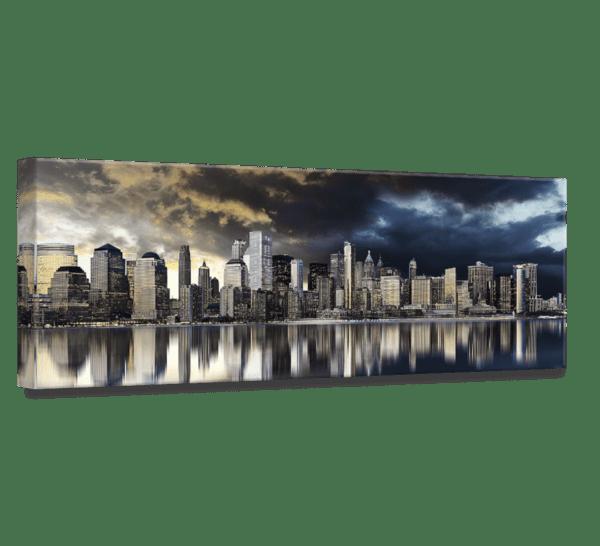 Leinwandbild Golden City – Panorama Ansicht schräg