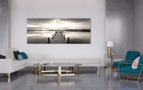 Leinwandbild Steg am See – Panorama im Wohnzimmer