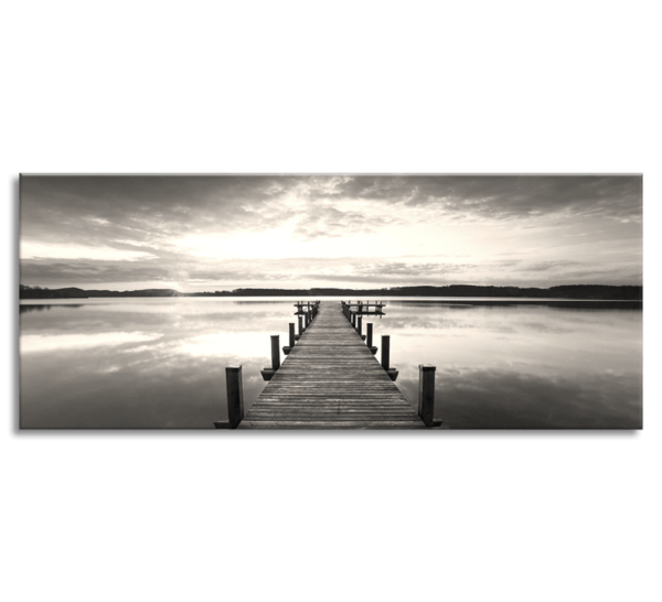 Leinwandbild Steg am See – Panorama