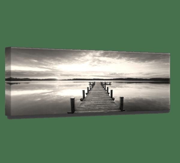 Leinwandbild Steg am See – Panorama Ansicht schräg