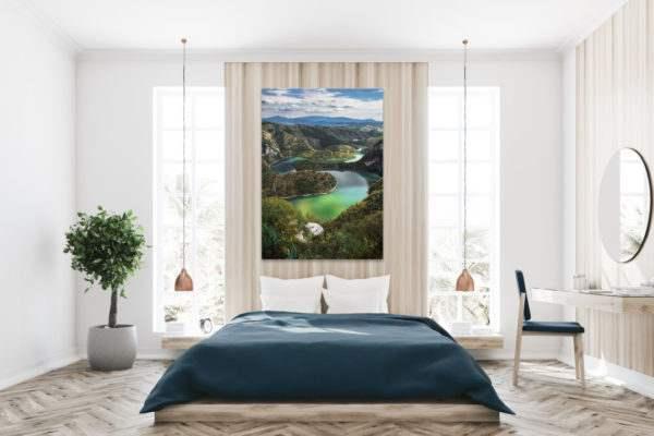 Glasbild Flusslauf im Schlafzimmer