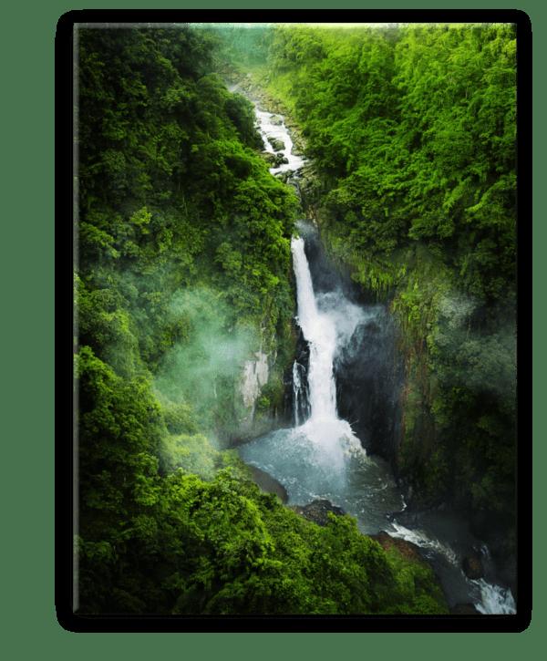 Glasbild Wasserfall im Grünen