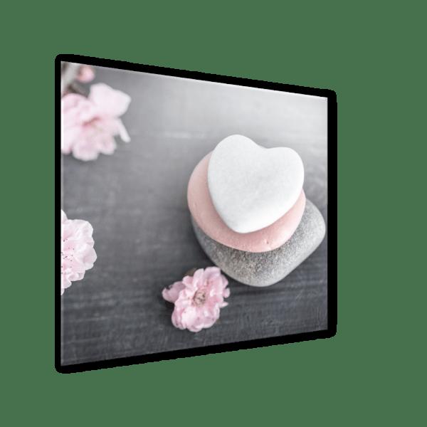 Glasbild Heart Stone Ansicht schräg
