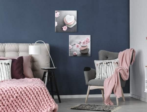 Glasbild Pink Stone im Schlafzimmer