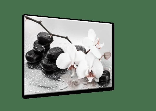 Glasbild Pastel Orchids Ansicht schräg