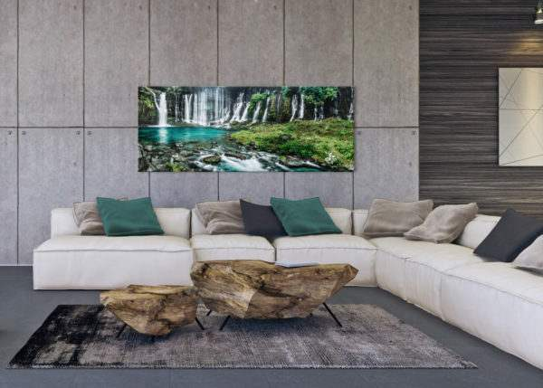 Glasbild Wasserfall im Wohnzimmer