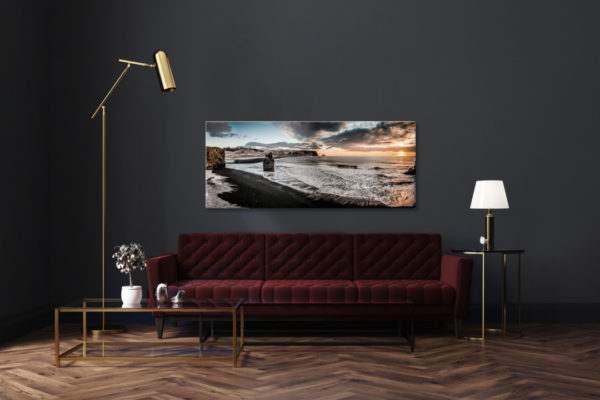 Glasbild Vik – Panorama im Wohnzimmer