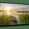 Glasbild Boot im Schilf – Panorama Ansicht schräg