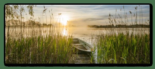Glasbild Boot im Schilf – Panorama