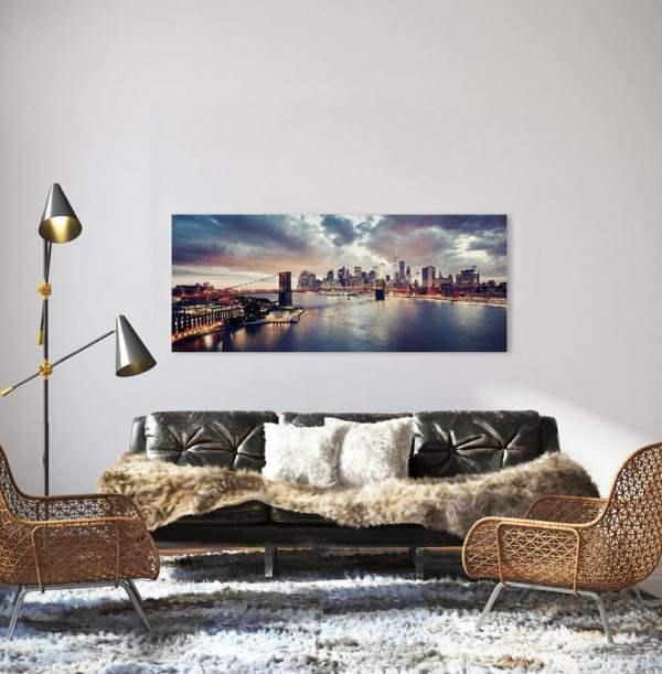 Glasbild Sunset Brooklyn – Panorama im Wohnzimmer