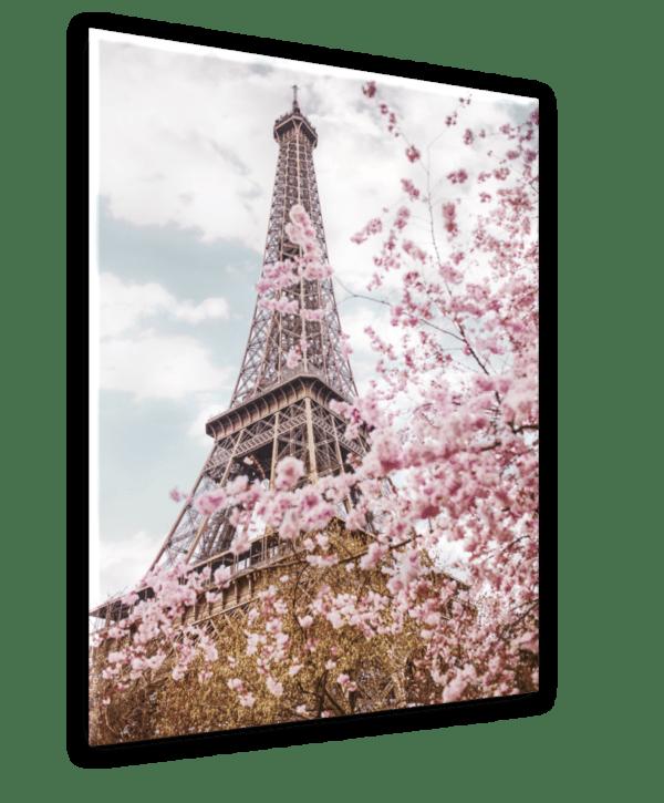 Leinwandbild Eiffelturm romantisch Ansicht schräg