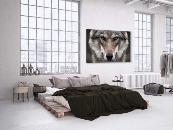 Glasbild Wolf im Schlafzimmer
