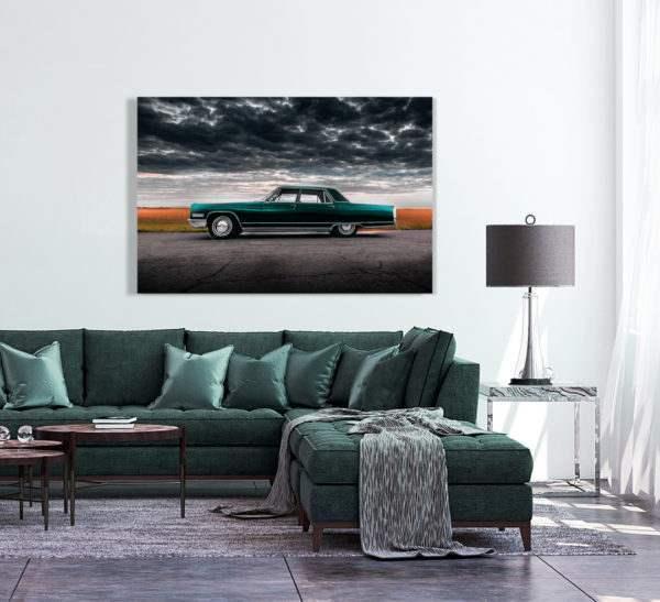 Glasbild Green Retro Car – Metallic Shining Effect im Wohnzimmer