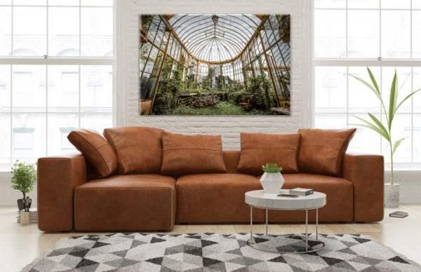 Glasbild Orangery – Metallic Shining Effect im Wohnzimmer