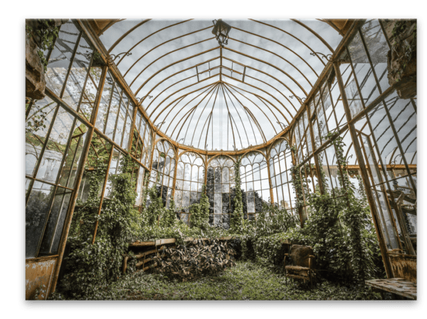 Glasbild Orangery – Metallic Shining Effect