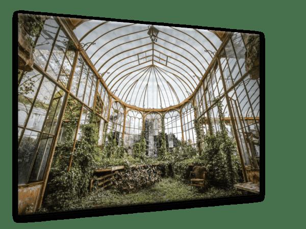 Glasbild Orangery – Metallic Shining Effect Ansicht schräg