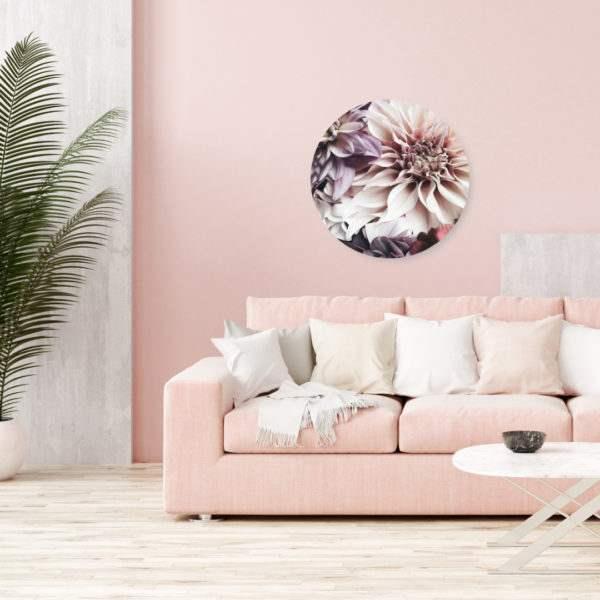 Glasbild Dhalia – rund im Wohnzimmer