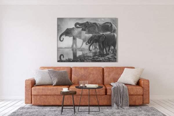 Leinwandbild Elephants im Wohnzimmer