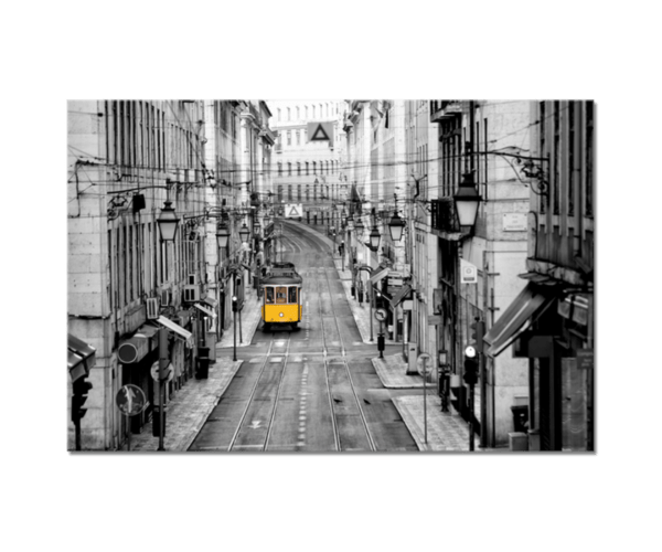Glasbild Yellow Tram