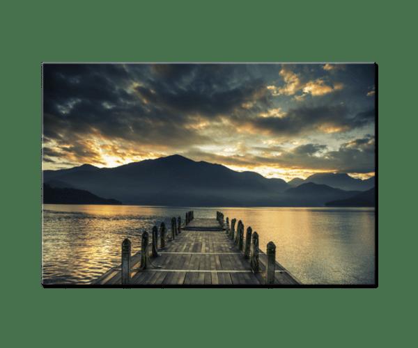 Glasbild Jetty at the Lake – Panorama