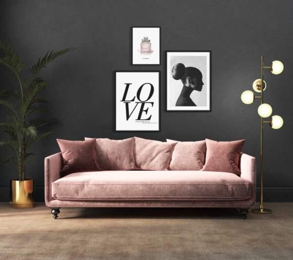 Rahmenbild Love im Wohnzimmer